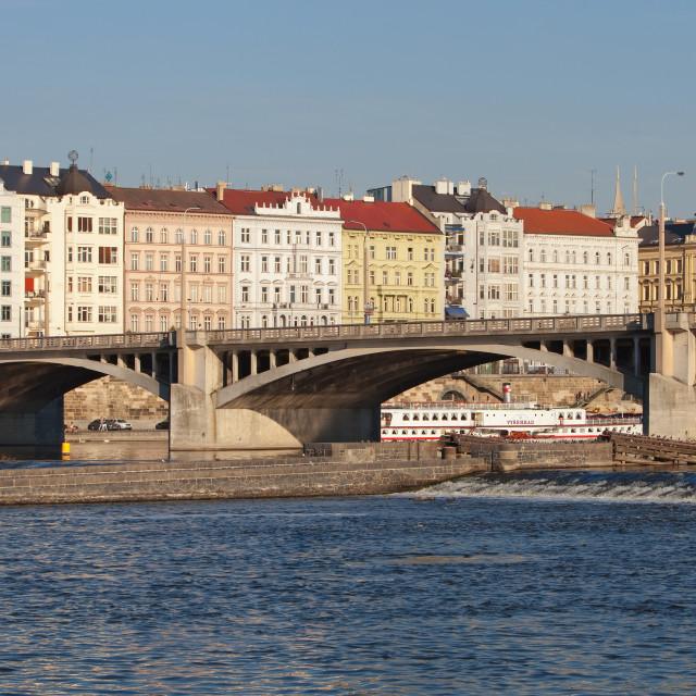 """Czech Republic, Prague - Dancing House and Beautiful Buildings by Vltava River."" stock image"