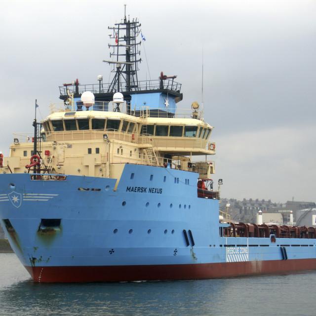 """Aberdeen Scotland UK - Industry. The Maersk Nexus Oil Rig Supply vessel..."" stock image"