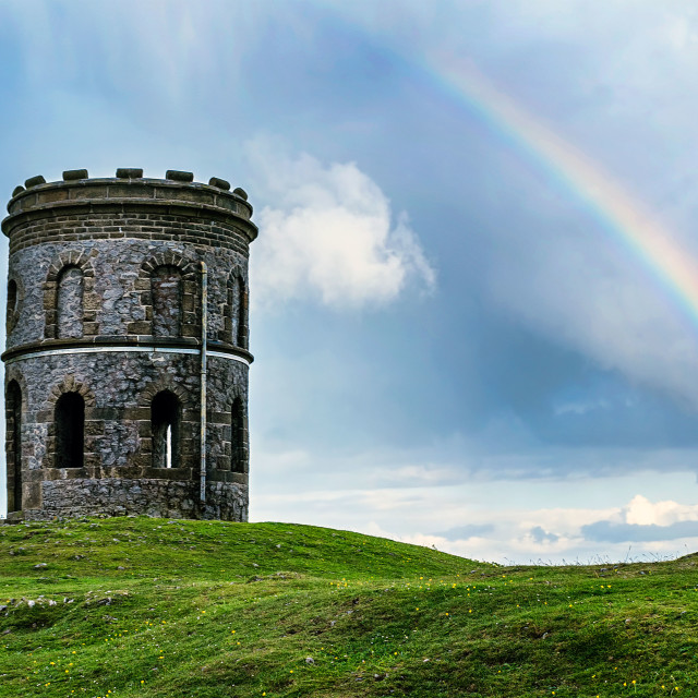 """Rainbow and Soloman's Temple, Buxton"" stock image"