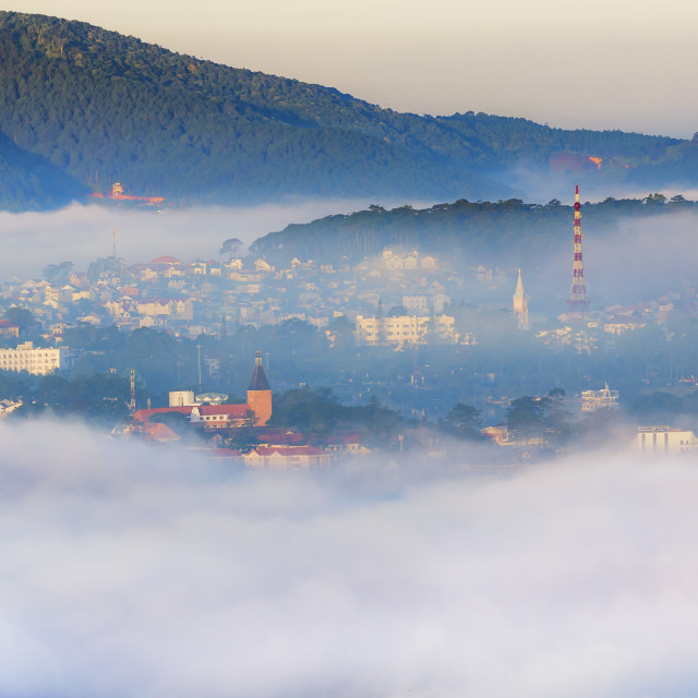 """City in clouds"" stock image"