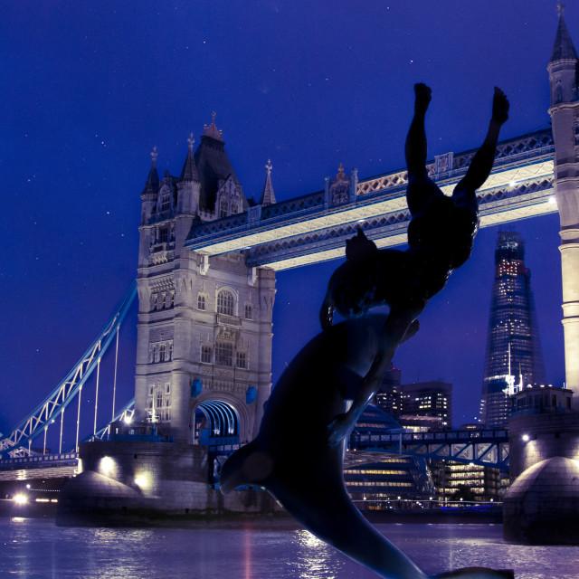 """The tower bridge of London at night"" stock image"