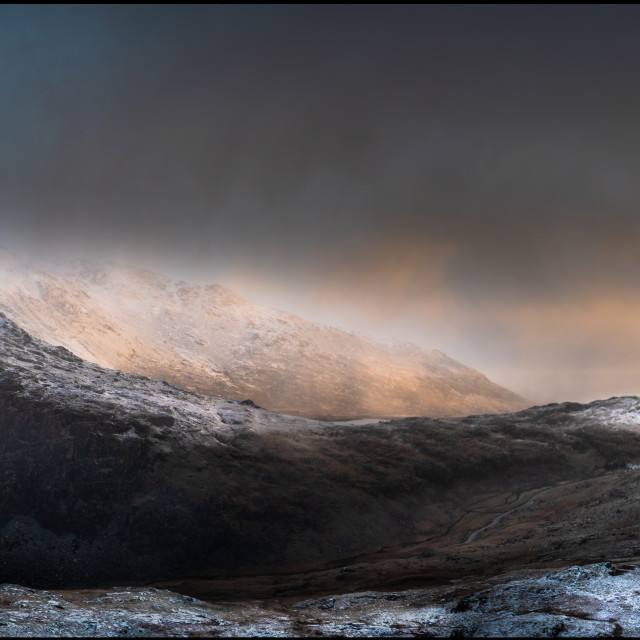 """Snowdonia winter sunrise."" stock image"