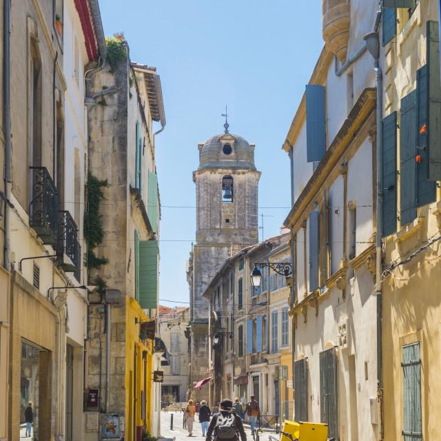 """Riding through Arles, Bouches du Rhone, France"" stock image"