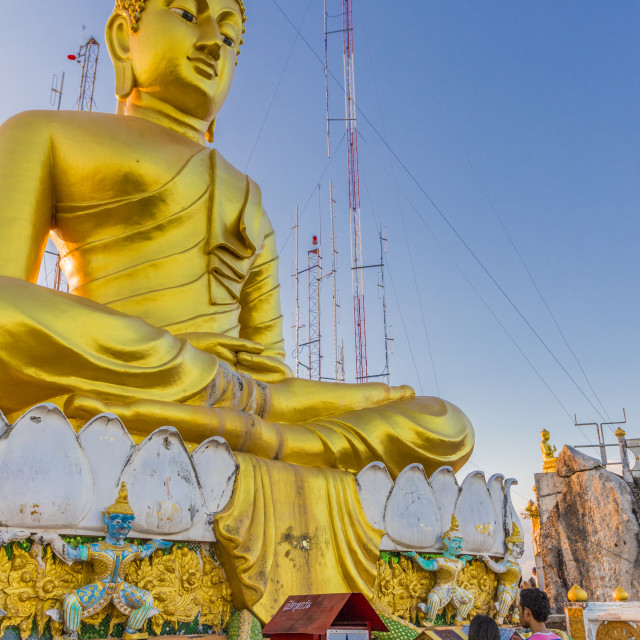 """""""The big Buddha statue at the Tiger cave temple in Krabi, Thailand, Southeast..."""" stock image"""