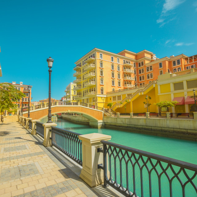 """""""Little Venice with canals connected by bridges in venetian style. Colorful..."""" stock image"""