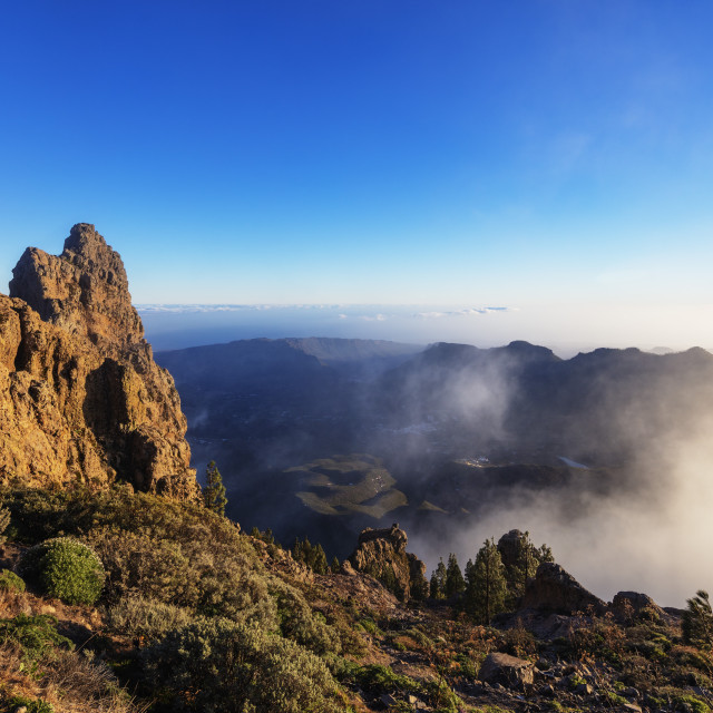 """Europe, Spain, Canary Islands, Gran Canaria, Pico de Las Nieves (1949m)..."" stock image"