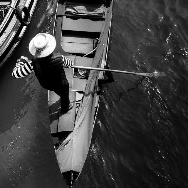 """The Gondolier, Venice"" stock image"
