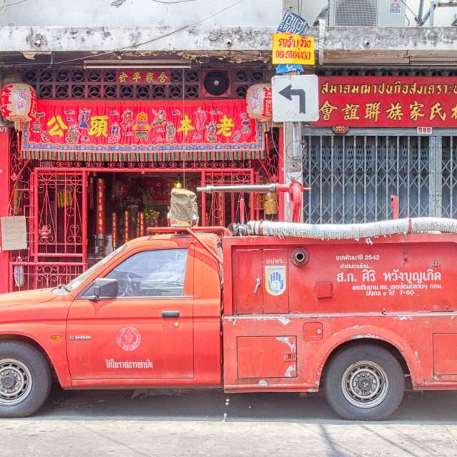 """""""Fire truck in Chinatown, Bangkok, Thailand"""" stock image"""