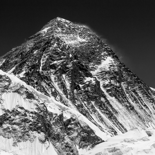 """Mount Everest in BW seen from Kala Patthar"" stock image"