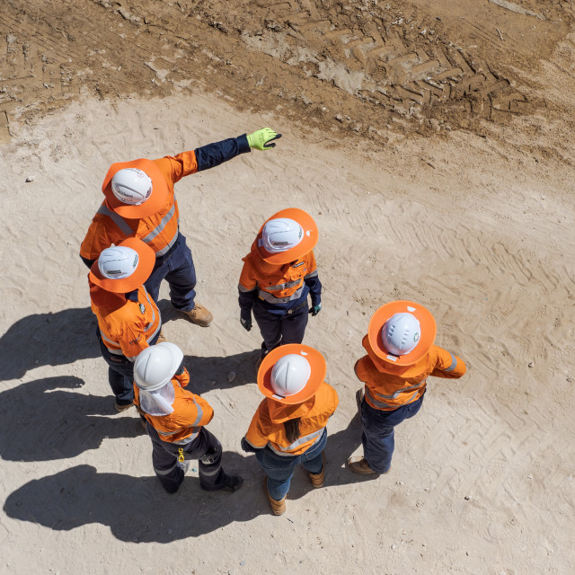 """Meeting on site"" stock image"