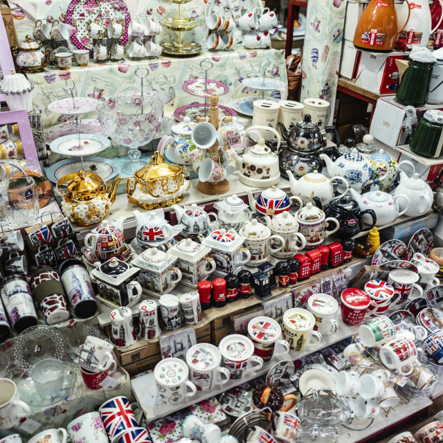 """Teapots - Market Stall, Shepherds Market, London"" stock image"