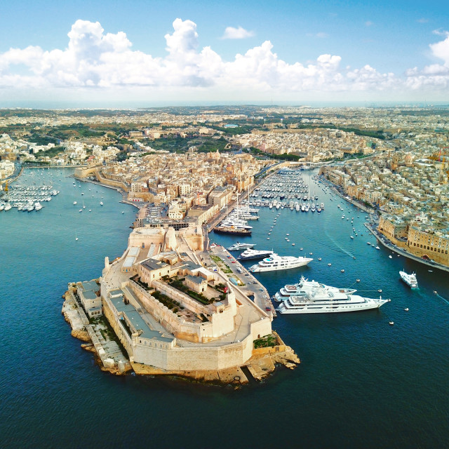 """Aerial: Grand Harbour of Valletta, Malta"" stock image"