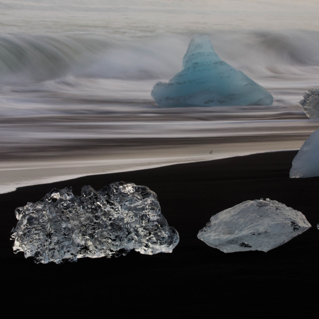 """Icebergs on Diamond Beach Iceland"" stock image"
