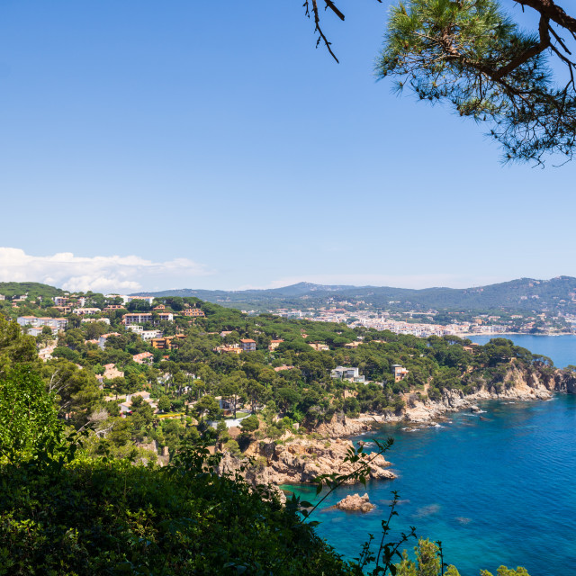 """Landscape of Calella de Palafrugell from botanic garden Cap de R"" stock image"