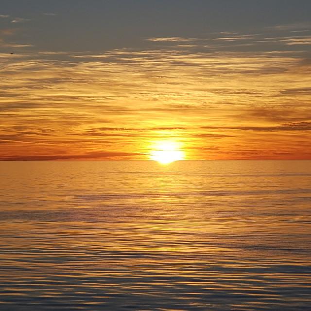 """Sunset reflected on the Sea of Cortez, Baja California, Mexico"" stock image"