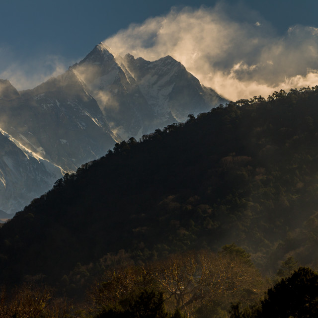 """Lhotse. A morning view from Deboche."" stock image"