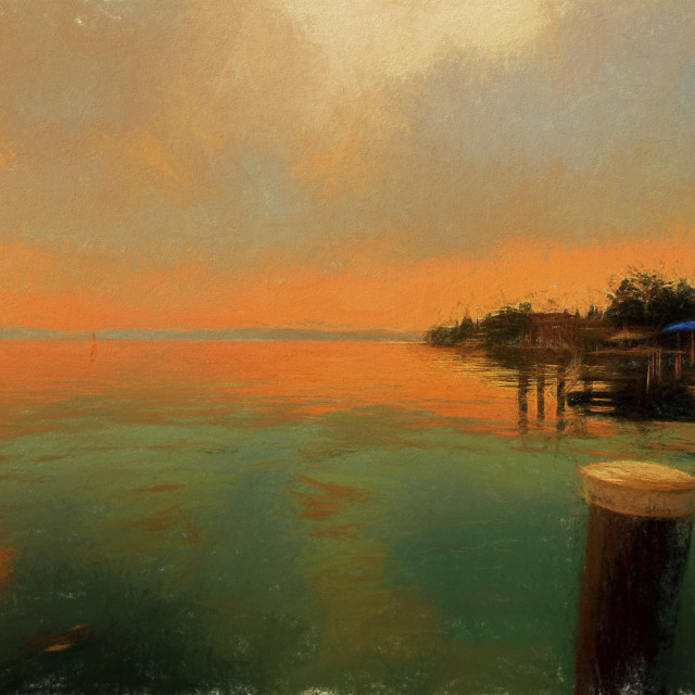 """""""Sirmione at dusk in the style of a Turner Sunset"""" stock image"""