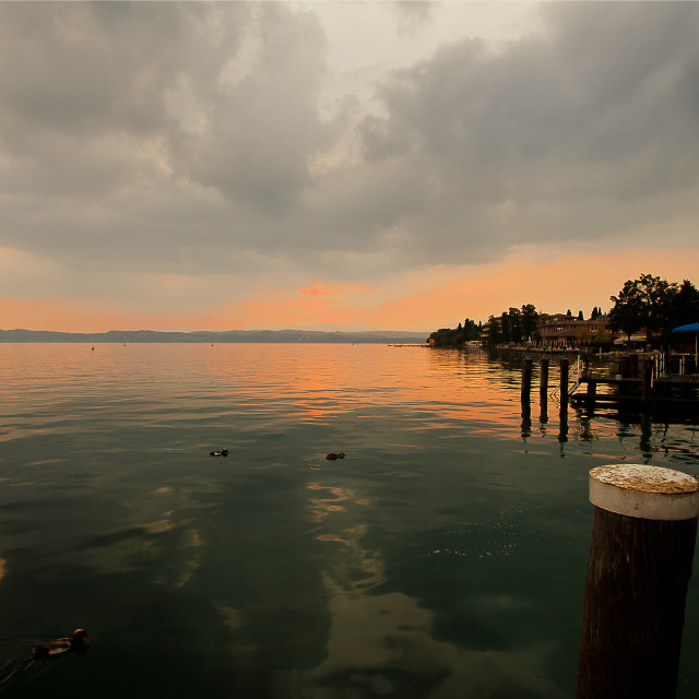 """""""Sirmione at dusk"""" stock image"""