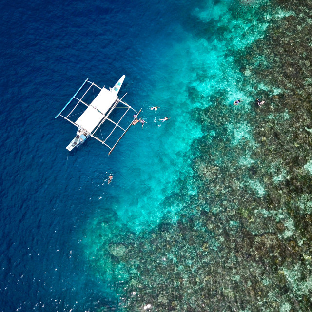 """Aerial: Green Lagoon, Coron Philippines :"" stock image"