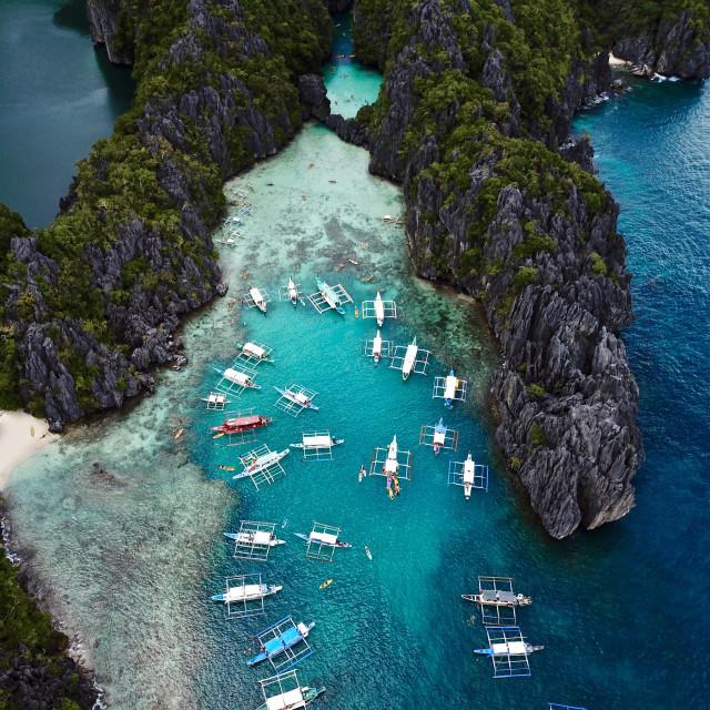 """Aerial: Hidden Beach, El Nido Palawan Philippines"" stock image"