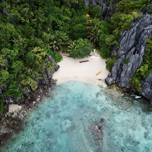"""Aerial: Tropical Sandy Beach, Palawan Philippines"" stock image"