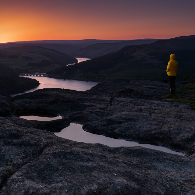 """Bamford Edge and The Hope Valley, Sunset"" stock image"