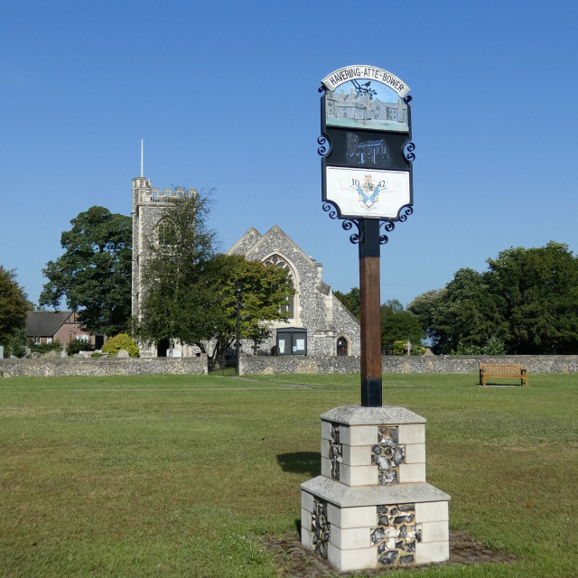 """""""Havering-Atte-Bower Church and Sign"""" stock image"""