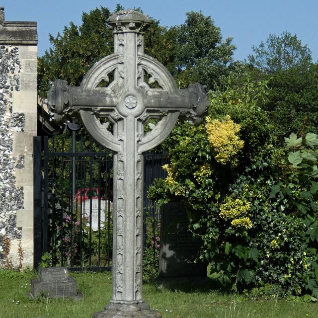 """Havering-Atte-Bower Church Celtic Cross"" stock image"