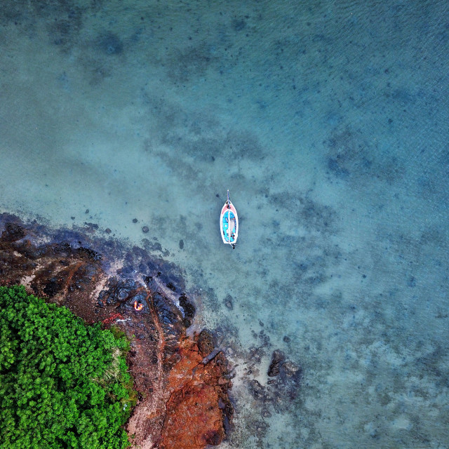 """Aerial: Isolated Sailing Boat"" stock image"