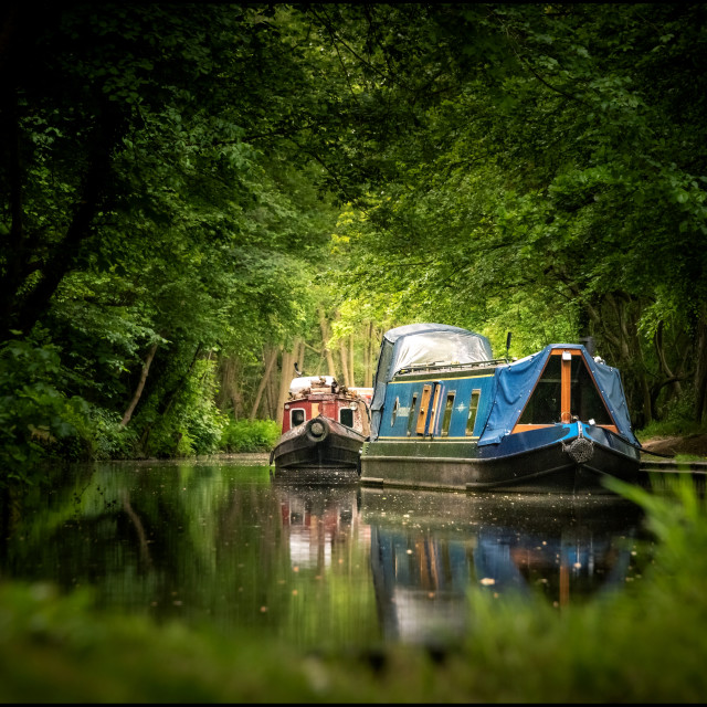 """Narrow boat at Ellesmere."" stock image"