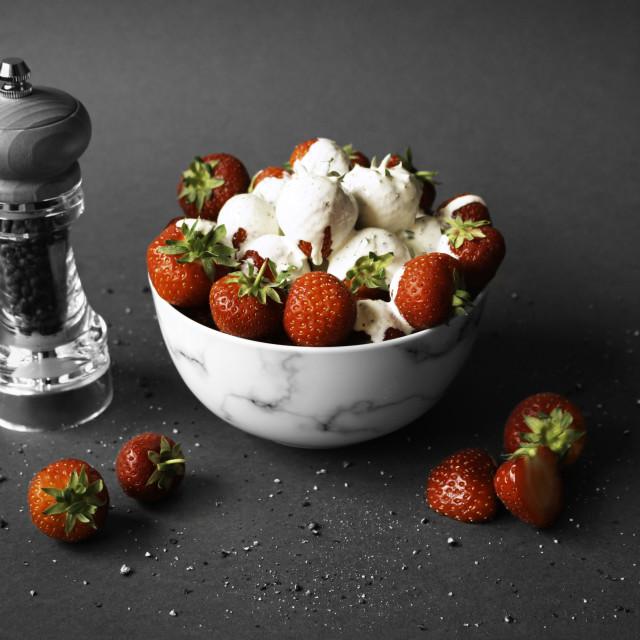 """Strawberries, Cream and Pepper 2"" stock image"