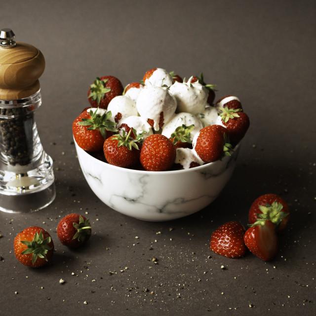 """Strawberries, Cream and Pepper 1"" stock image"