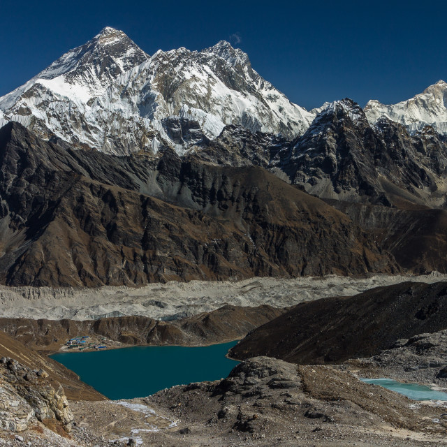 """Everest, Lhotse, Makalu - view from the way to Renjo La from Gokyo"" stock image"