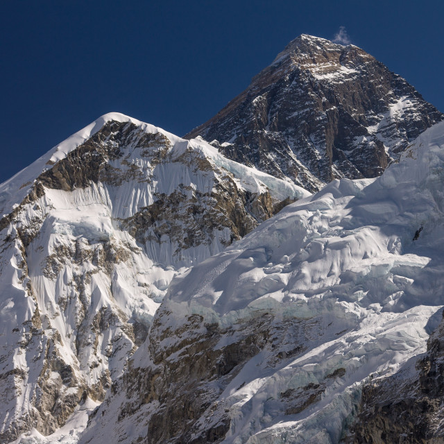"""Mount Everest seen from the way to Kala Patthar"" stock image"