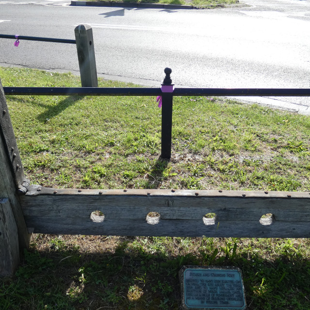 """""""Punishment - whipping post and stocks from a bygone age 1"""" stock image"""