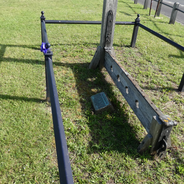 """""""Punishment - whipping post and stocks from a bygone age 2"""" stock image"""