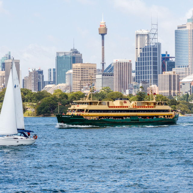 """""""The Manly ferry and a yacht"""" stock image"""
