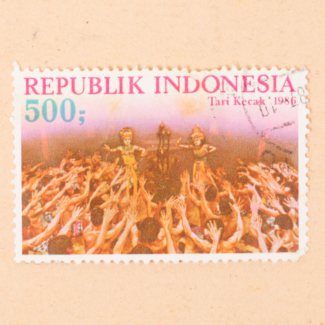 """INDONESIA - CIRCA 1986: A stamp printed in Indonesia shows Tari Kecak, circa..."" stock image"
