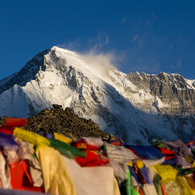 """Cho Oyu seen at sunrise from Gokyo Ri"" stock image"