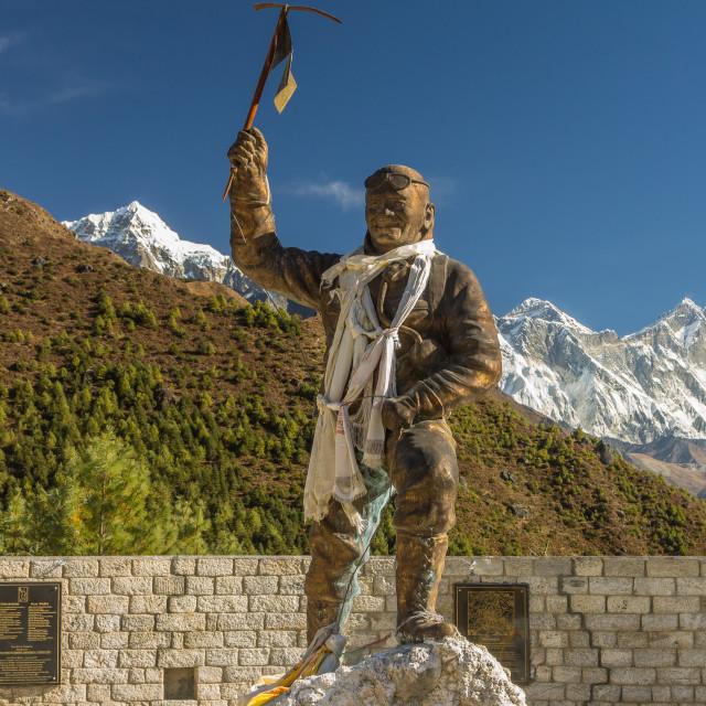 """Tenzing Norgay's statue in Namche Bazaar. Solukhumbu, Nepal."" stock image"
