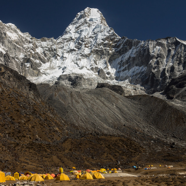 """Ama Dablam (6812m) seen from the base camp. Solukhumbu, Nepal."" stock image"