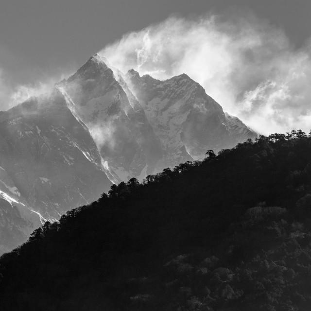 """Magic morning at Deboche: Nuptse - Lhotse Ridge and Everest abov"" stock image"