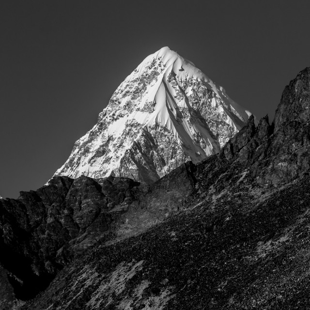 """Pumori (7161m) seen from a place on a moraine above the Ama Dabl"" stock image"