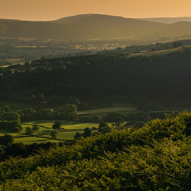 """Golden hour over Hope Valley"" stock image"