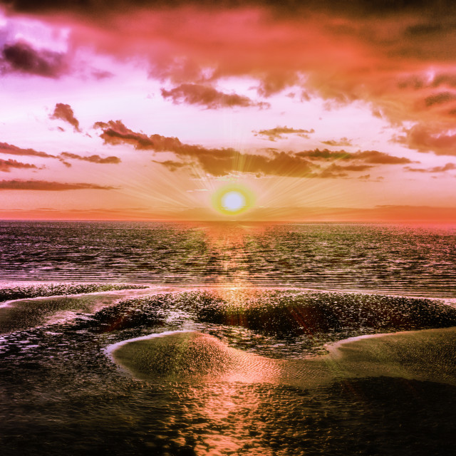"""Sunset at Holme Beach Norfolk"" stock image"