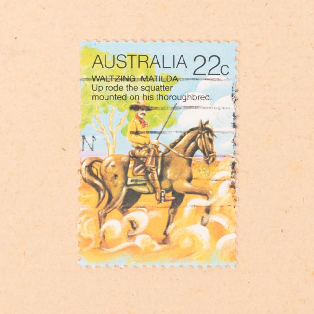 """AUSTRALIA - CIRCA 1980: A stamp printed in Australia shows a scene of..."" stock image"