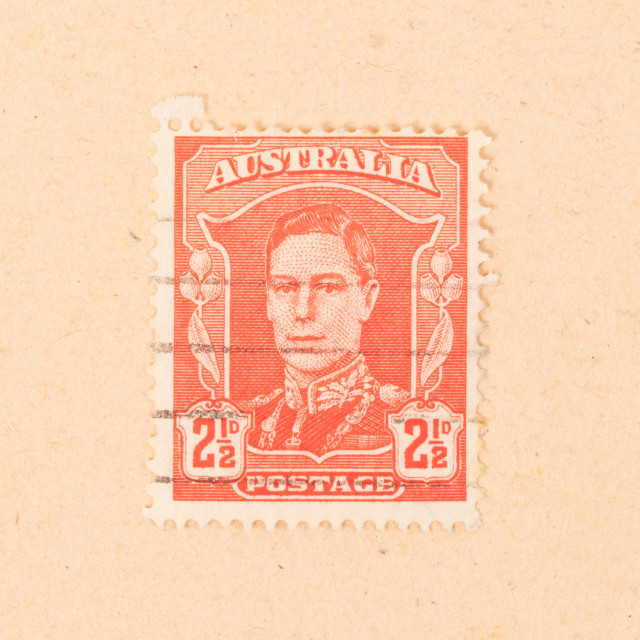 """""""AUSTRALIA - CIRCA 1950: A stamp printed in Australia shows an image of the..."""" stock image"""