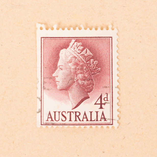 """AUSTRALIA - CIRCA 1950: A stamp printed in Australia shows the queen, circa 1950"" stock image"