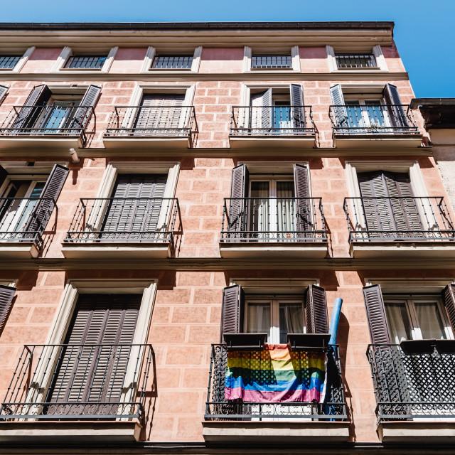 """Cityscape of Malasana district in Madrid"" stock image"
