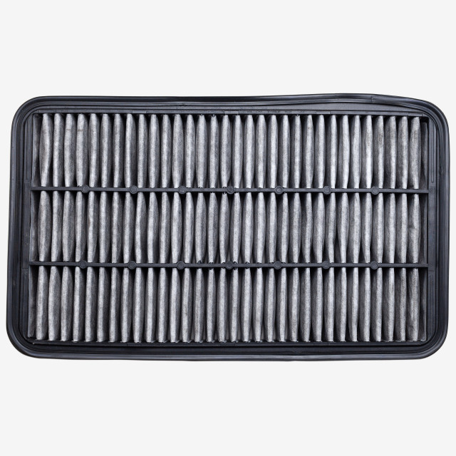 """Top view dust and dirty car air filter isolated"" stock image"